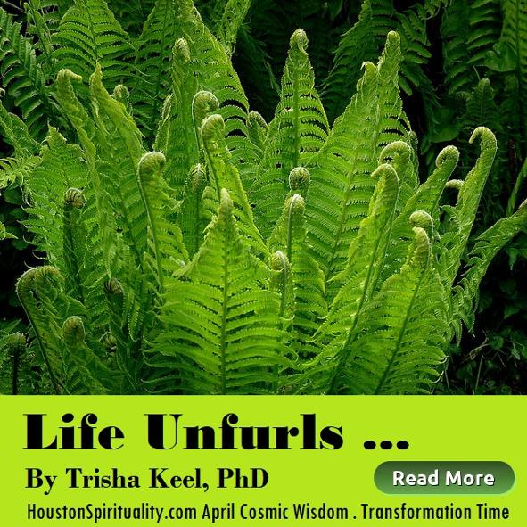 Life Unfurls by Trisha Keel. Transformation Time, Cosmic Wisdom April, Houston Spirituality Magazine