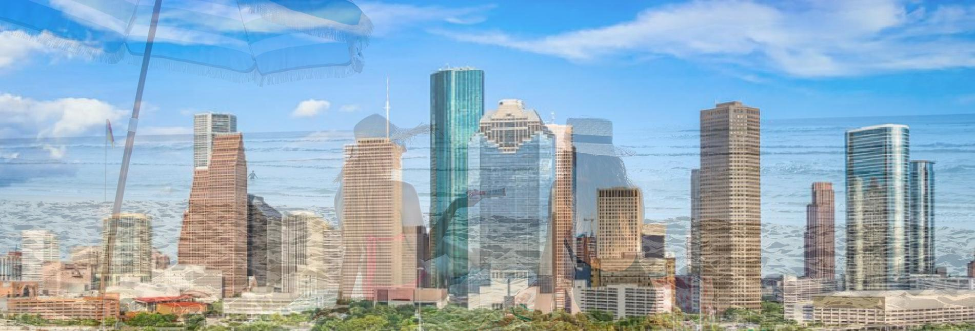Houston Skyline with beach background july