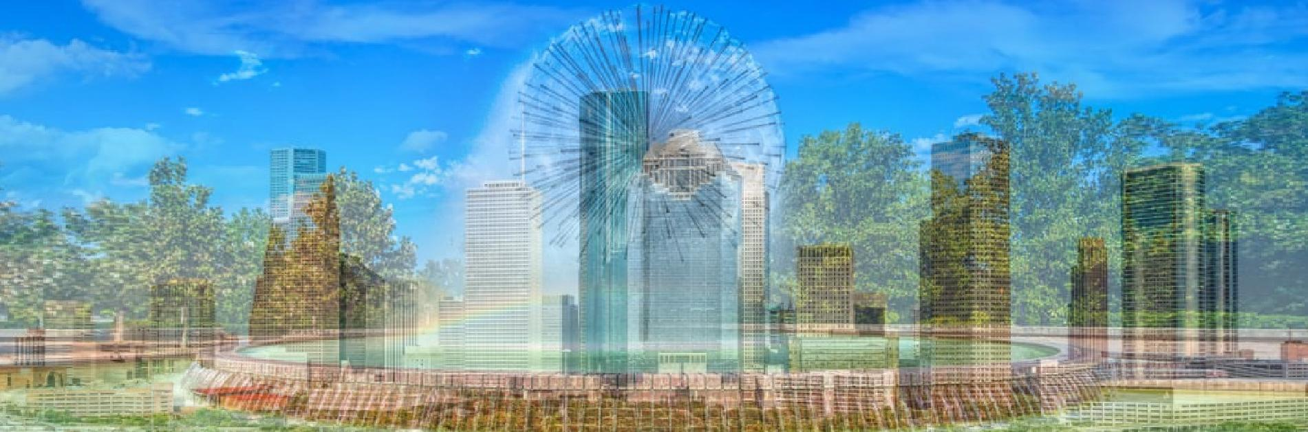 Houston Skyline with the Dandelion Fountain located on Allen Parkway