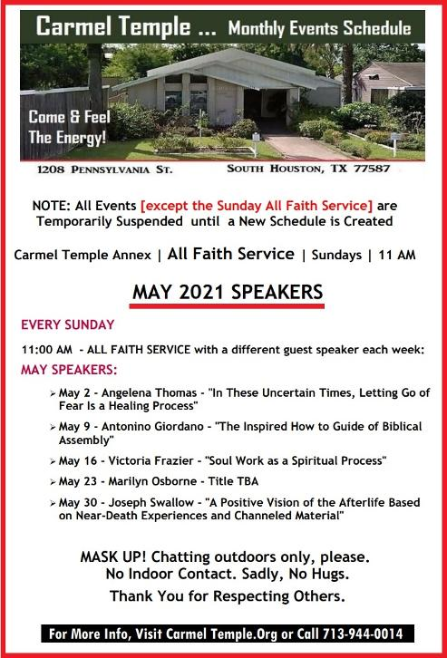 Carmel Temple's Monthly Speakers & Events