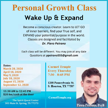 Personal Growth Classes with Piero Peirano at Carmel Teple and Spirit Quest