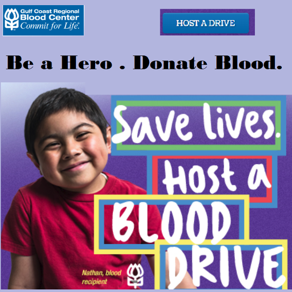 Donate Blood or Host a Blood Drive. Gulf Coast Blood Center