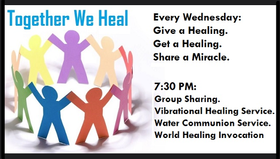 Wonderful Wednesdays at Carmel Temple, Together We Heal. Give a Healing, Get a Healing. click for info.