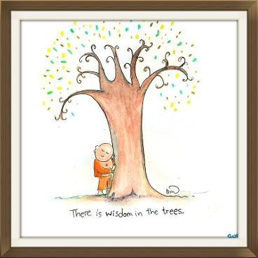 there is wisdom in the trees, buddha doodles