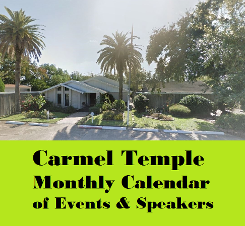 carmel temple calendar of events and speakers.